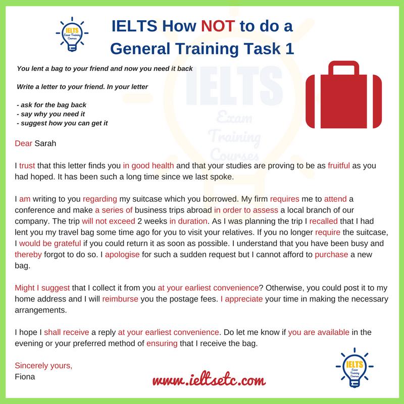 IELTS General Training Informal Letter