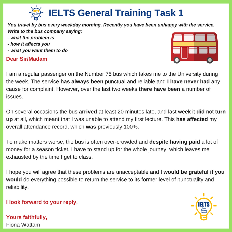 IELTS General Training Formal Letter of Complaint