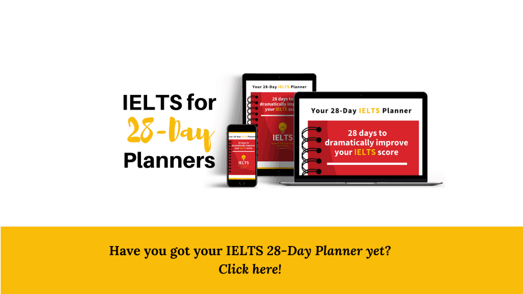 IELTS 28 Day Planner picture of planner on screens