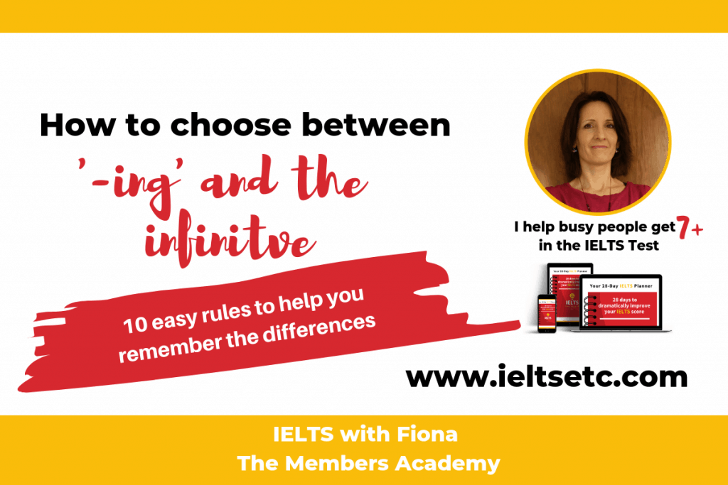 Grammar for IELTS: When to use '-ing' forms and infinitives